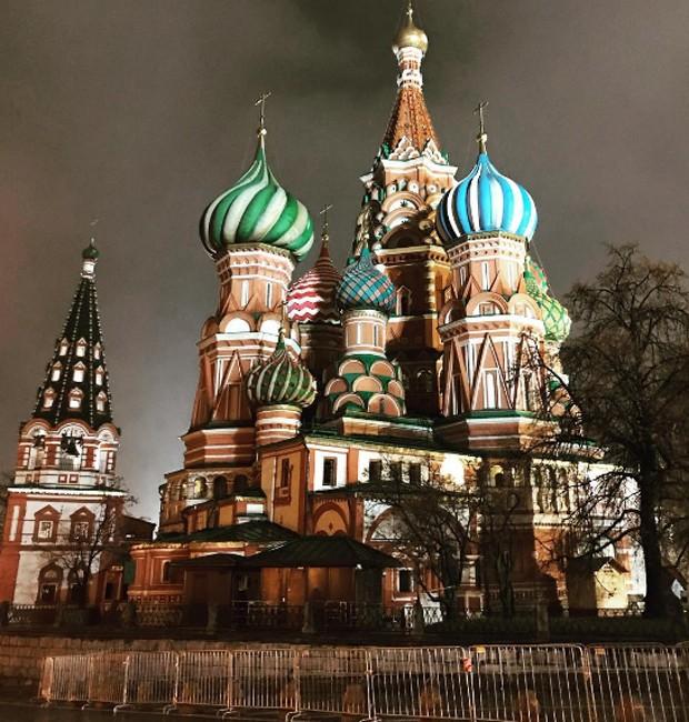 Catedral de São Basílio, famoso cartão-postal de Moscou, na Rússia (Foto: Reprodução/Instagram)