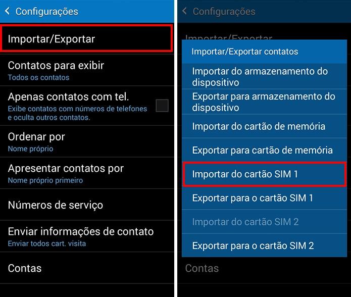 Importe contatos de um dos chips (Foto: Reprodução/Paulo Alves)