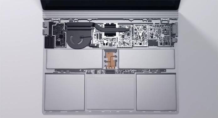 Blocos cinza na parte inferior da imagem são as baterias do Surface Book, da Microsoft. Opção por bateria integrada permitiu design fininho do notebook (Foto: Divulgação/Microsoft)