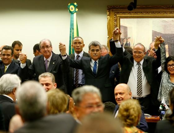 Reunião do PMDB que oficializou a saída do partido do governo da Presidente Dilma Roussef (Foto: Pedro Ladeira/Folhapress)