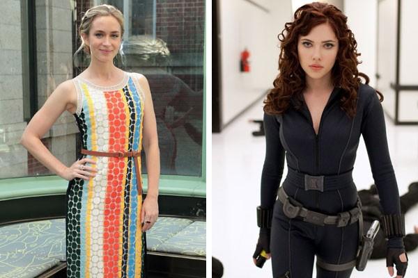 Emily Blunt e Scarlett Johansson como Viúva Negra em Homem de Ferro 2 (2010) (Foto: Getty Images/Reprodução)