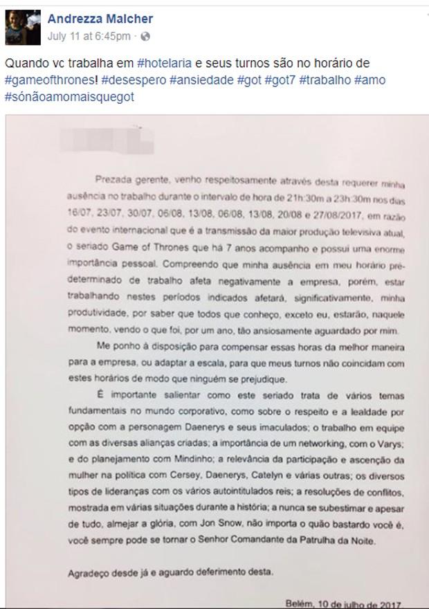 Fã da série mandou carta à empresa que trabalha (Foto: Reprodução)