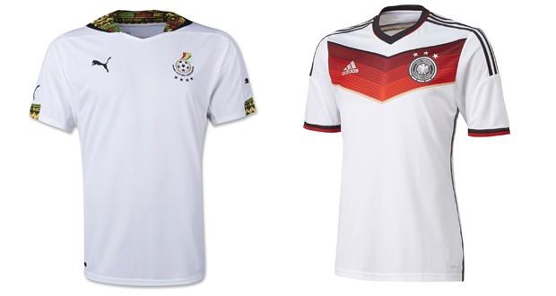 Uniformes das selees de Gana e Alemanha. (Foto: Divulgao / Puma e Adidas)