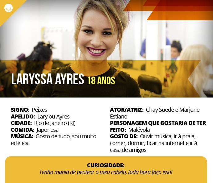 Card com informações curiosas de Laryssa Ayres (Foto: Gshow)