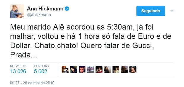 Tweet de Ana Hickmann (Foto: Reprodução/Twitter)