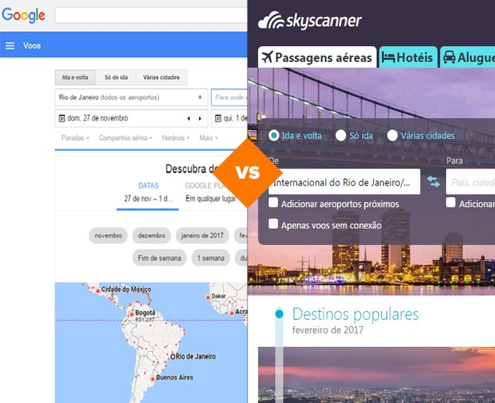 Google Flights vs. Skyscanner (Foto: Arte/TechTudo)