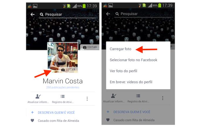 Acessando a tela de upload de foto de perfil do Facebook no Android (Foto: Reprodução/Marvin Costa)