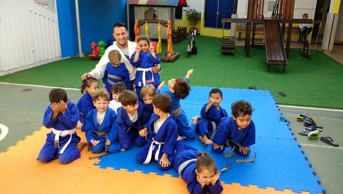 Aula de judô com crianças até 4 anos, em Porto Velho (Foto: Jheniffer Núbia)