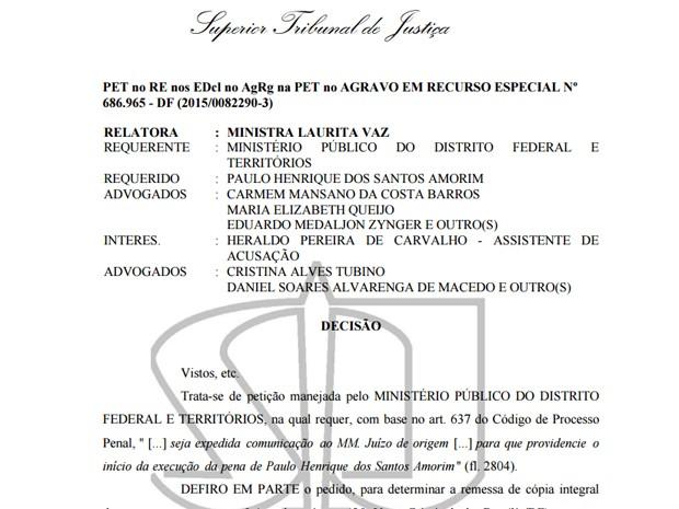 Trecho da decisão da ministra Laurita Vaz, que determina envio de autos do processo à Justiça do DF (Foto: Reprodução)