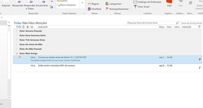 Outlook exibirá ícone de sino e marcará e-mail com lembrete (Foto: Reprodução/Elson de Souza)