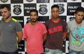 Polícia prendeu quatro suspeitos de roubar fazendas e cargas em Goianésia, Goiás (Foto: Divulgação/Polícia Civil)