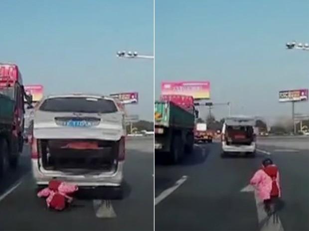 Vídeo mostra criança de dois anos caindo de van e caminhando em estrada na China (Foto: Reprodução/CCTV)