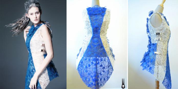 Vestido foi desenhado e impresso em tempo real com caneta 3Doodler (Foto: Reprodução/3DPrint)