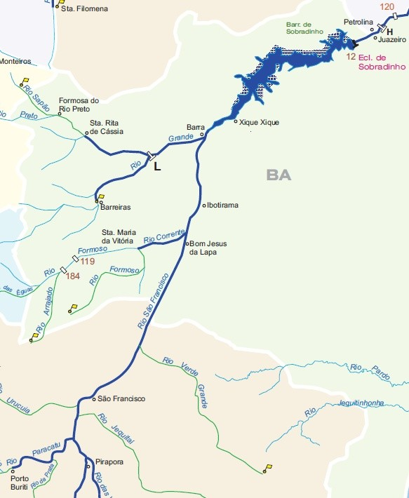 Mapa com a visão da bacia do São Francisco (Foto: Site Dnit)