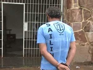 Suspeito de matar mãe de cantor de dupla sertaneja é preso em Uberaba (Foto: Reprodução/TV Integração)
