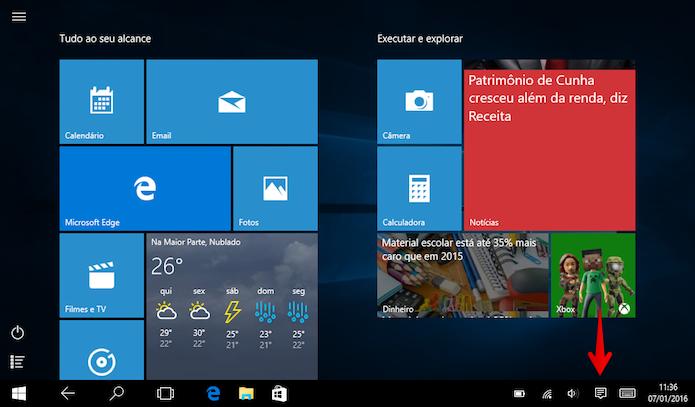 Acesse a central de ações do Windows 10 (Foto: Reprodução/Helito Bijora)