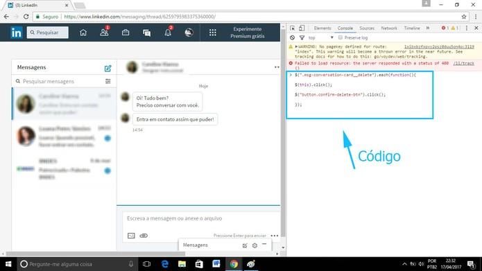 Copie e cole o código onde se pede (Foto: Reprodução/Camila Peres)