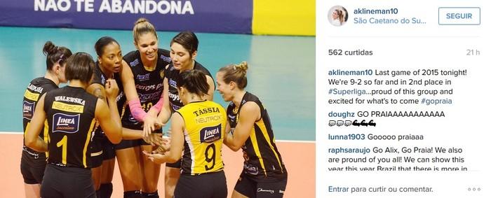 Alix Klineman ponteira Praia Clube vôlei Superliga (Foto: Reprodução/Instagram)
