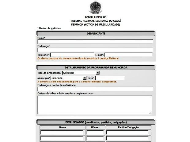 Formulário de denúncia eleitoral do TRE-CE (Foto: TRE-CE/Divulgação)