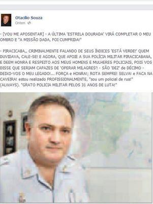 Mensagem do coronel Otacílio Souza no Facebook (Foto: Reprodução/Facebook)