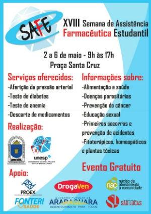 Semana Farmacêutica começa na próxima segunda (2) no Centro de Araraquara (Foto: Divulgação/Unesp)