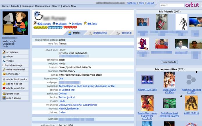 Primeira versão do Orkut (Foto: Reprodução/TechCrunch)