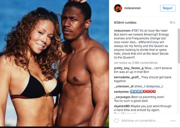A declaração de Nick Cannon sobre sua ex, Mariah Carey (Foto: Instagram)