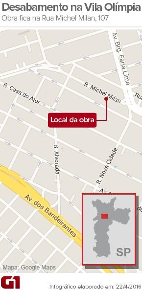 Acidente ocorreu em estande de venda na Vila Olímpia (Foto: Editoria de Arte/G1)