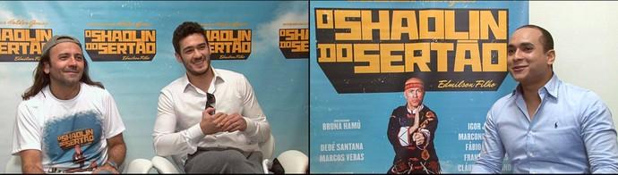 Menilson Filho entrevista o diretor Halder Gomes  e o autor Marcos Veras (Foto: TV Sergipe)