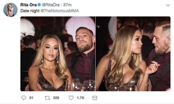 Postagem polêmica de Rita Ora com Conor McGregor (Foto: Reprodução)