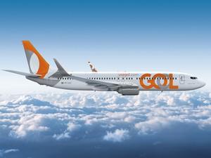 A aeronave que recebeu a nova logomarca da companhia é a centésima encomendada pela Gol da Boeing.  (Foto: Divulgação)