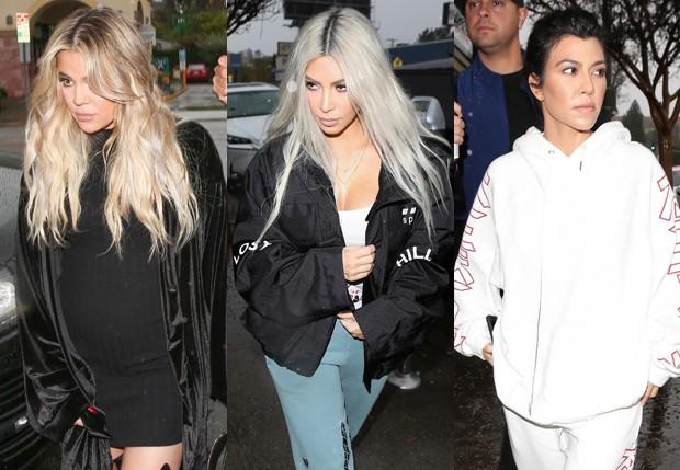Khloé Kardashian, Kim Kardashian e Kourtney Kardashian (Foto: BackGrid)