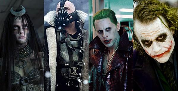 Cara Delevingne, Tom Hardy, Jared Leto e Heath Ledger (Foto: Divulgação)