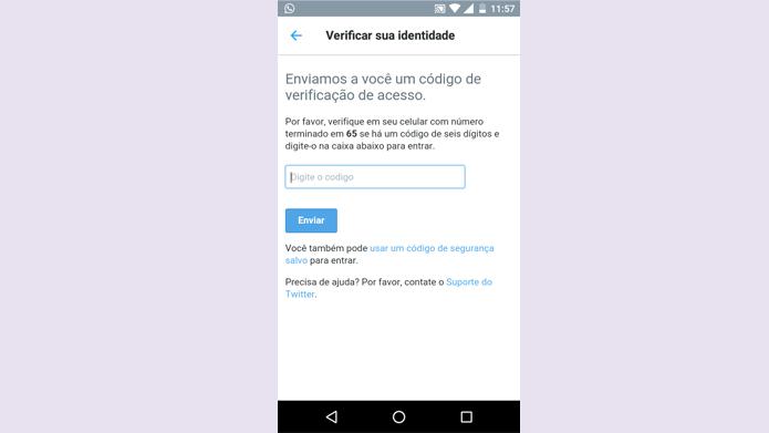 Twitter permite uso de código reserva quando telefone não pode ser usado (Foto: Reprodução/Twitter)