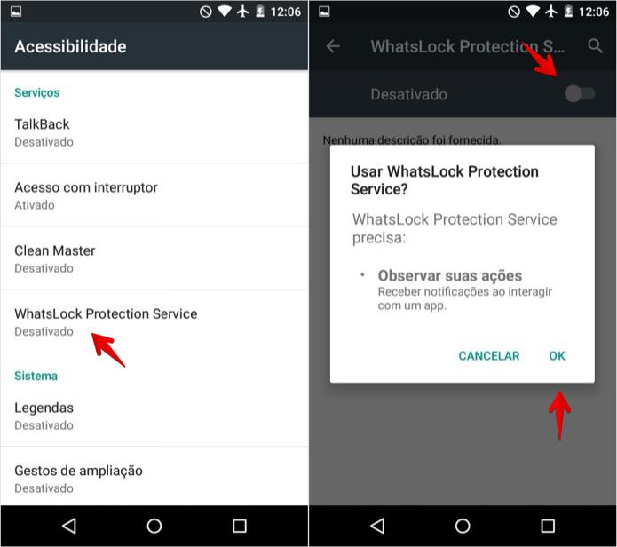 Ativando permissões do WhatsLock nas configurações do Android (Foto: Reprodução/Helito Bijora)
