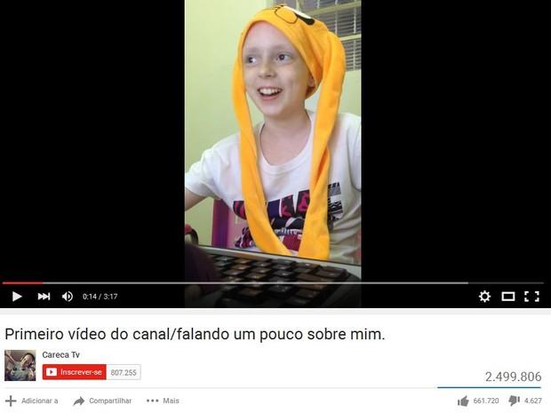 Vídeo de Lorena já teve mais de 2 mi de vizualizações (Foto: Reprodução/Youtube/Careca TV)