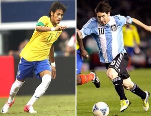 montagem Neymar Messi Brasil x Argentina (Foto: Editoria de Arte)