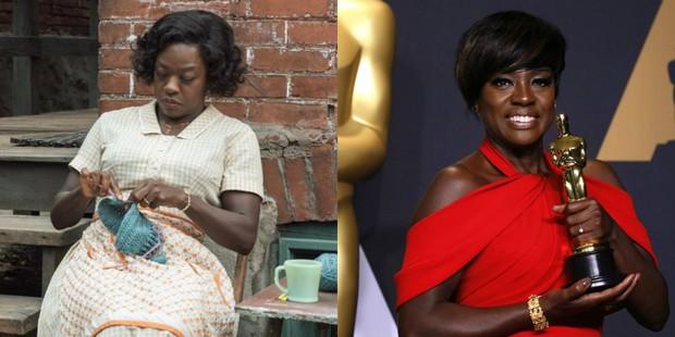 Viola Davis em Um Limite Entre Nós e quando ganhou o Oscar pelo papel (Foto:  Divulgação Paramount | REUTERS/Lucas Jackson)