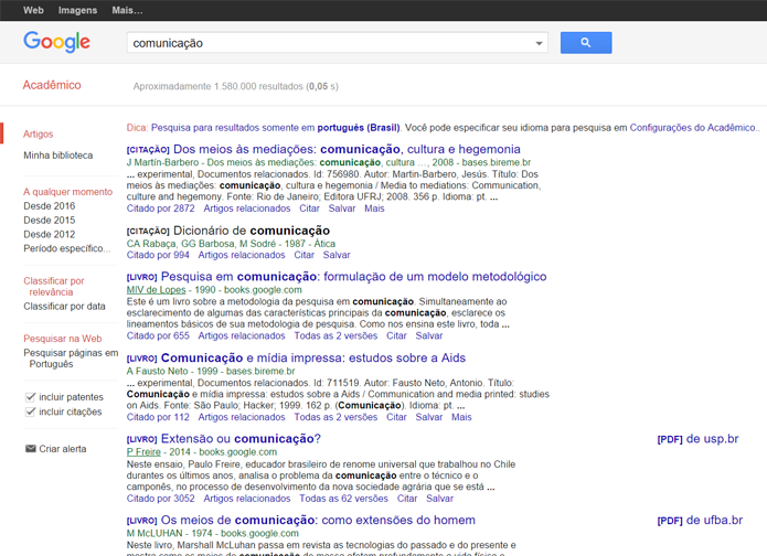 Google Acadêmico dá acesso a uma grande quantidade de textos acadêmicos (Foto: Reprodução/Filipe Garrett)