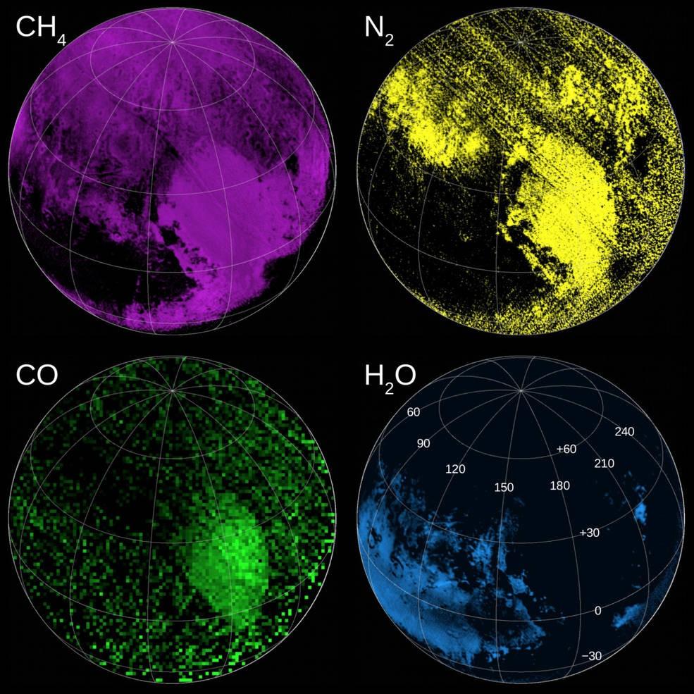Composição de mapas coloridos de Plutão (Foto: NASA)