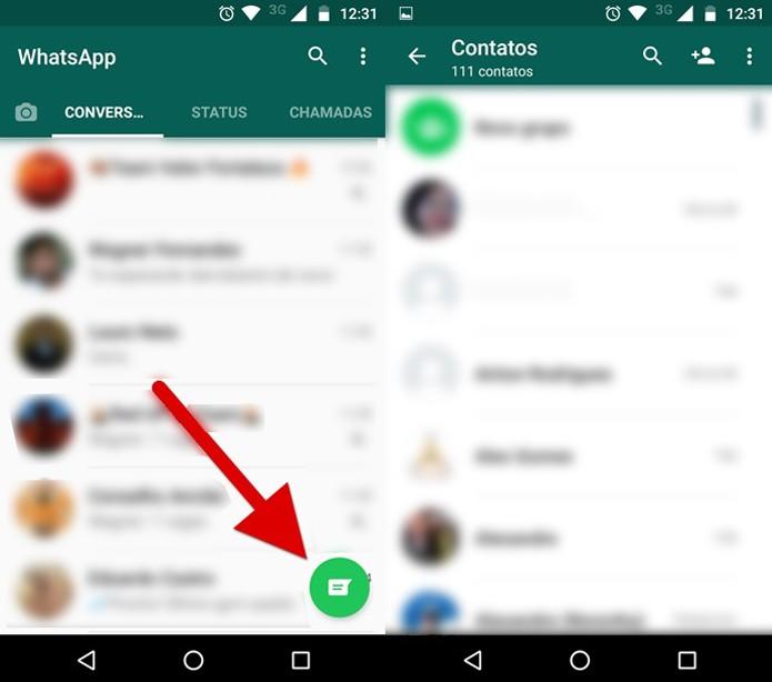Acessando a lista de contatos no novo WhatsApp (Foto: Reprodução/Felipe Alencar)