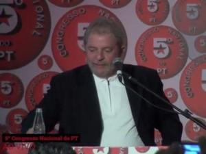 O ex-presidente Luiz Inácio Lula da Silva, durante encontro do PT em Salvador (Foto: Reprodução/Agência PT de Notícias)
