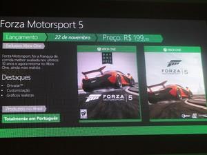 """""""Forza Motorsport 5"""", um dos títulos exclusivos de lançamento do Xbox One, é fabricado no Brasil e irá custar R$ 200 (Foto: Bruno Araujo/G1)"""