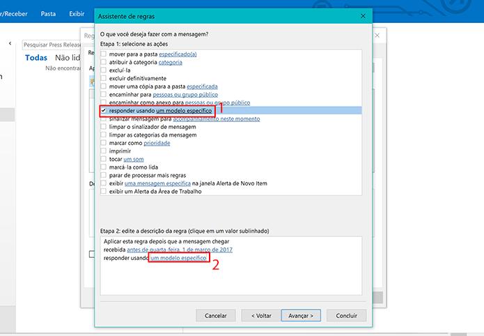Clique no campo destacado na caixa Etapa 2 para selecionar o modelo do Outlook (Foto: Reprodução/Elson de Souza)