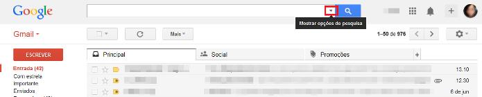 Barra de pesquisa do Gmail (Foto: Reprodução/Lívia Dâmaso)