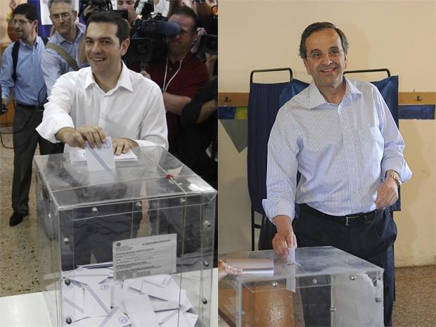 Líder da coalizão de esquerda Syriza , Alexis Tsipras, (à esquerda), e líder da Nova Democracia, Antonis Samaras, votam na Grécia, neste domingo (17) (Foto: Reuters)