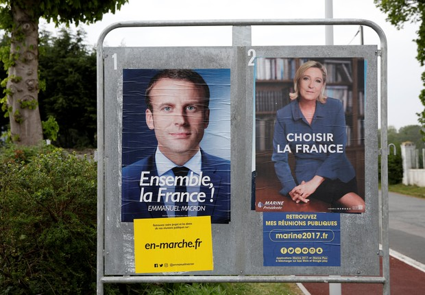 Cartazes oficiais dos candidatos à presidência na França (Foto: Benoit Tessier/Reuters)