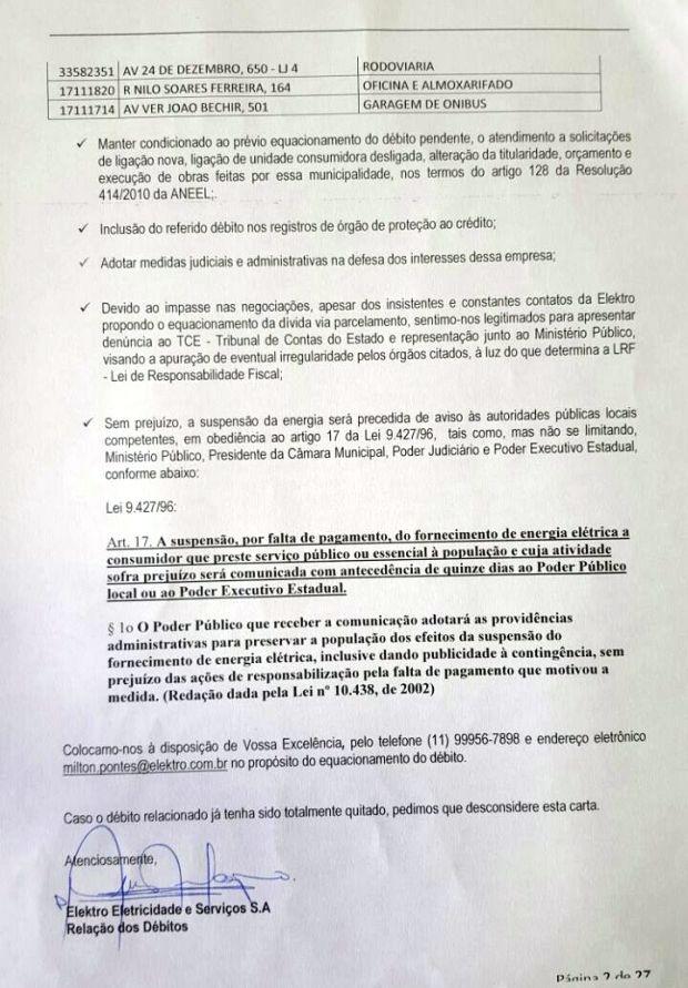 Segunda página do comunicado enviado à prefeita de Peruíbe (Foto: Reprodução)