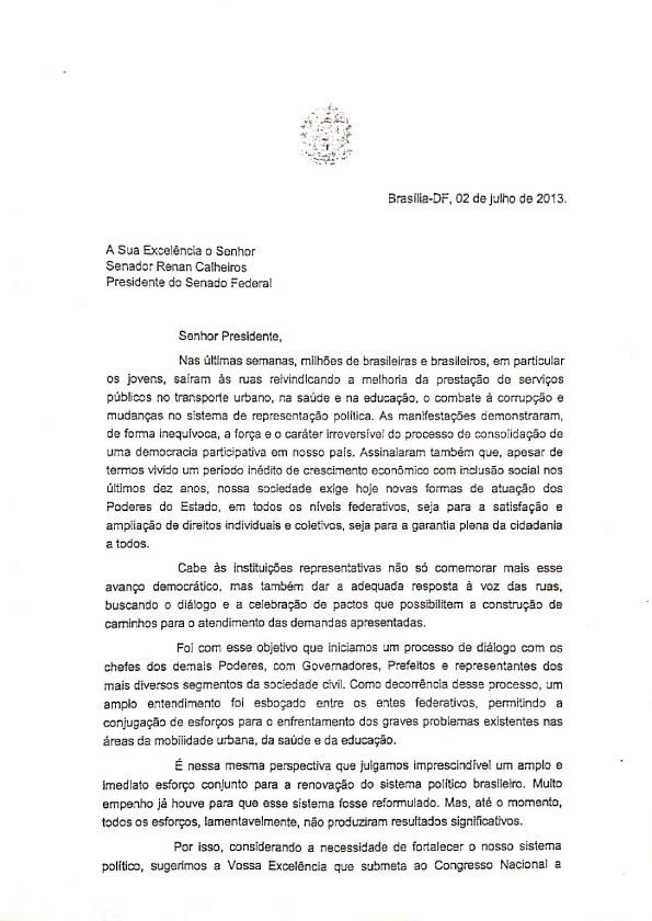Mensagem de Dilma ao Congresso (primeira página) (Foto: Reprodução)