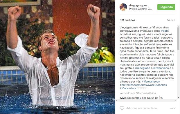 Diego Alemão em post no Instagram (Foto: Reprodução/Instagram)